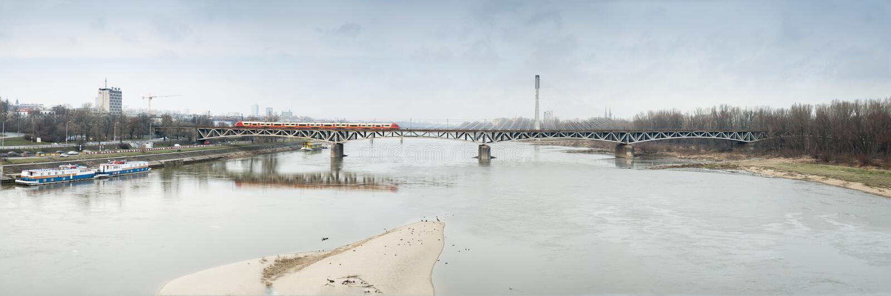 Download Panoramic Warsaw Secene Of Swietokrzyski Bridge. Stock Photo - Image: 28465026