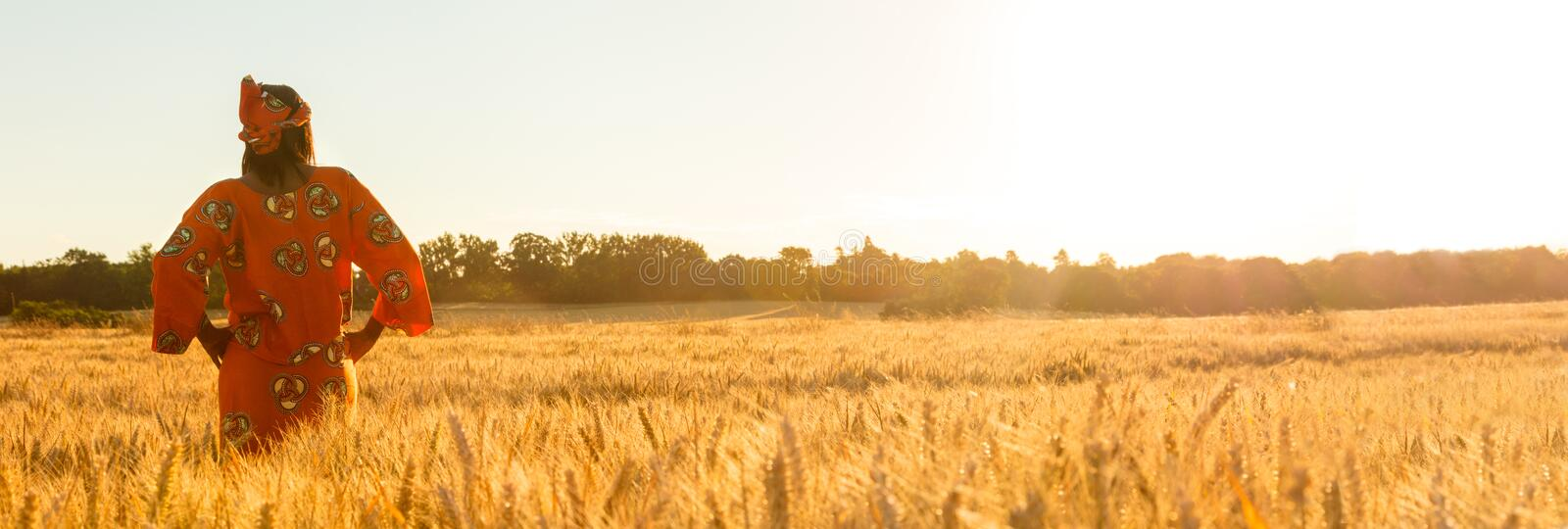 Panoramic web banner African woman in traditional clothes standing with her hands on her hips in field of barley or wheat crops at stock image