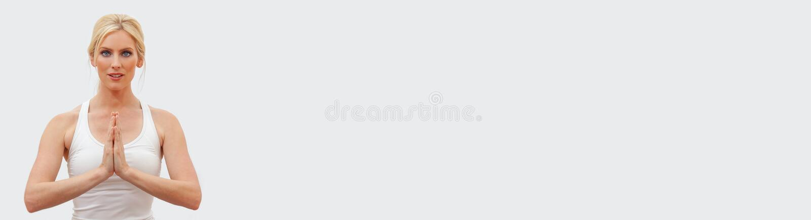 Young Female Woman Practicing Yoga Panorama Web Banner royalty free stock image