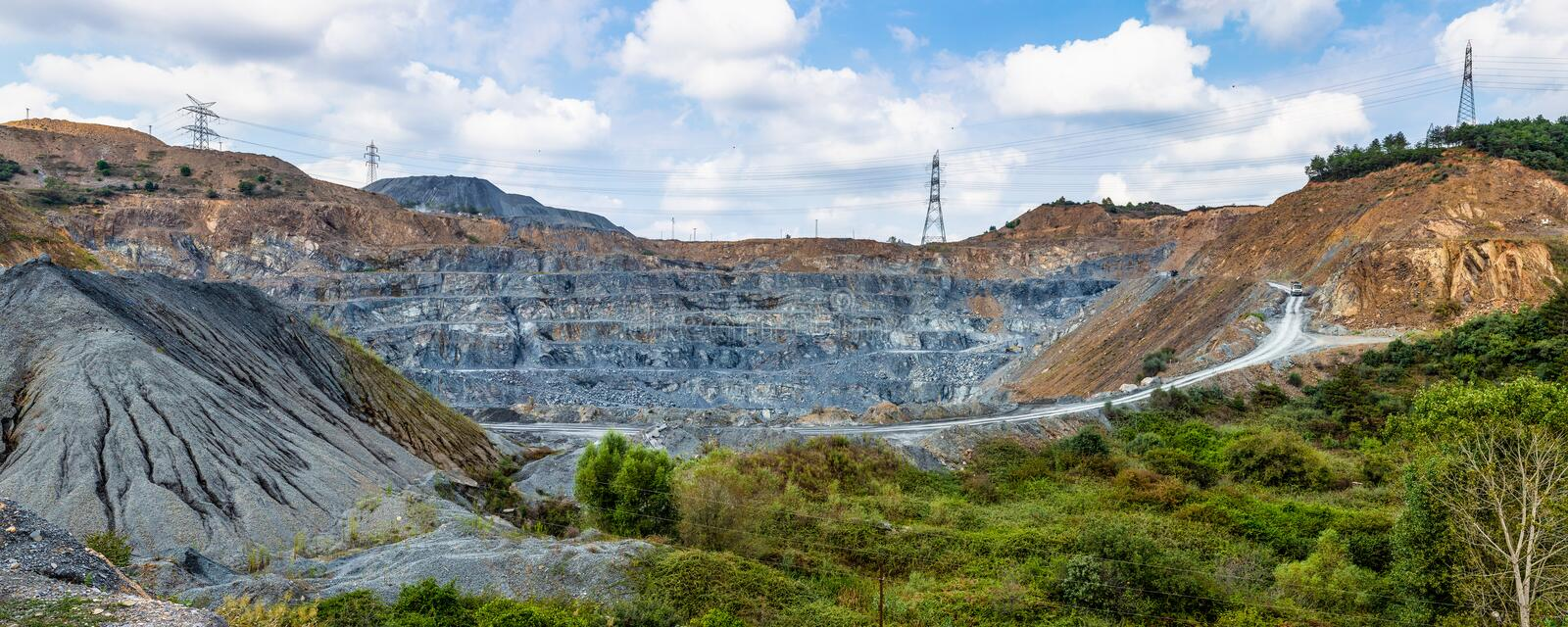 Panoramic wide angle view of a quarry royalty free stock photos