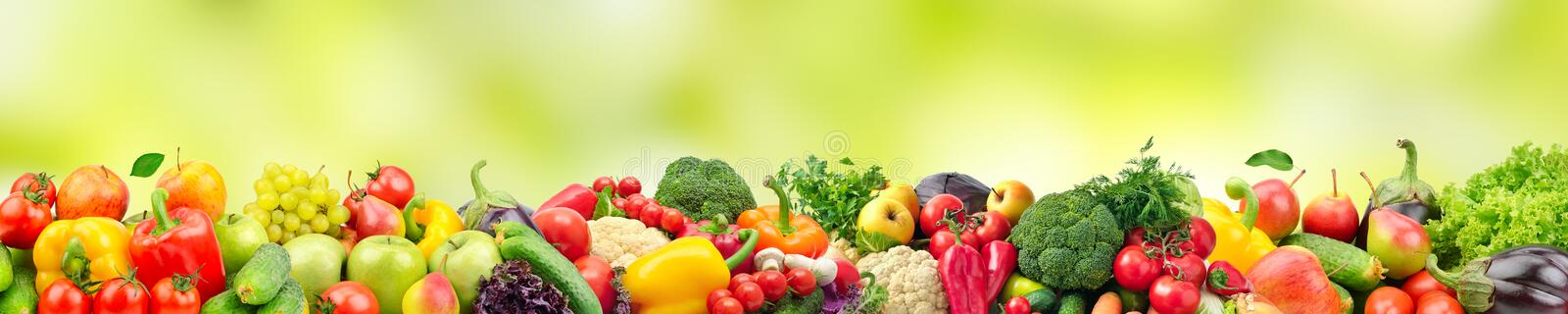 Panoramic wide photo healthy and useful vegetables and fruits is. Olated on white background. Assortment fresh products - apples, bananas, grapes, pears, carrots stock illustration