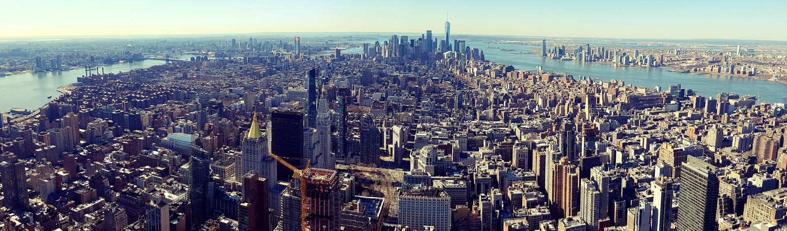 Downtown Manhattan. Panoramic wide view of downtown Manhattan, taken from the Empire State Building royalty free stock photography