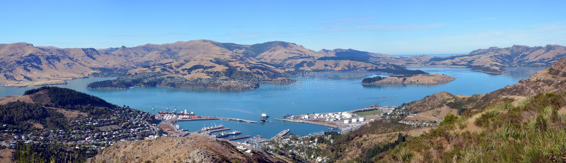 Lyttleton Port & Harbour Panorama, Christchurch, New Zealand. stock images