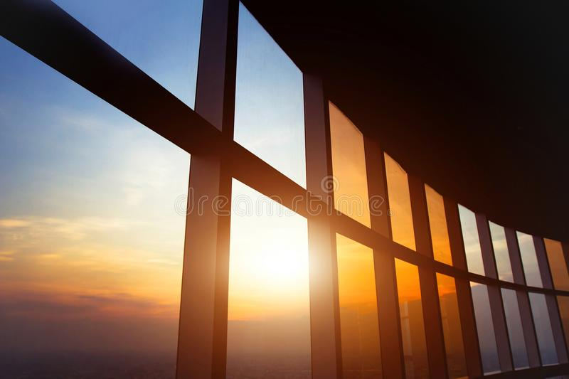 Abstract business interior. Panoramic window in the office, abstract business interior background stock photo