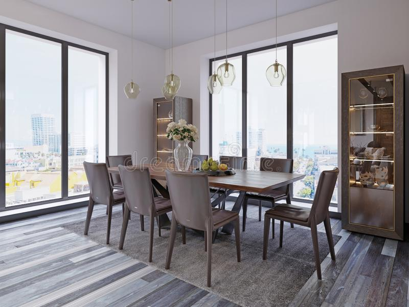 Panoramic windows in luxury dining room with wooden table and leather chairs next to showcase and designer hanging lamps. 3d rendering vector illustration