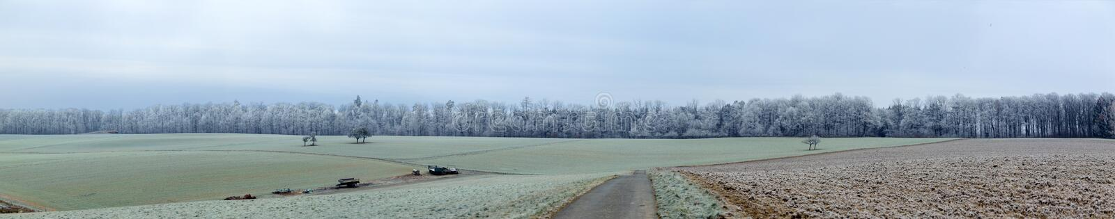 Panoramic winter landscape in rural area in Idstein. Germany royalty free stock photos