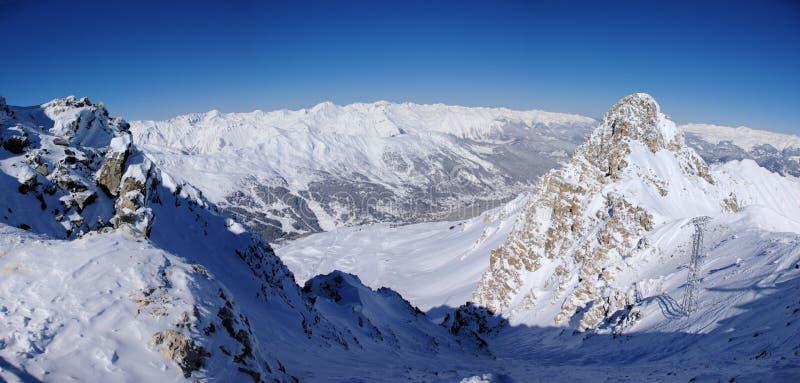 Panoramic winter mountains stock photos