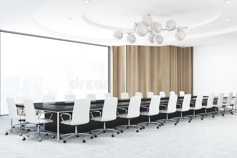 Download Panoramic Wooden Meeting Room, White Chairs Stock Illustration    Illustration Of Interior, Architecture