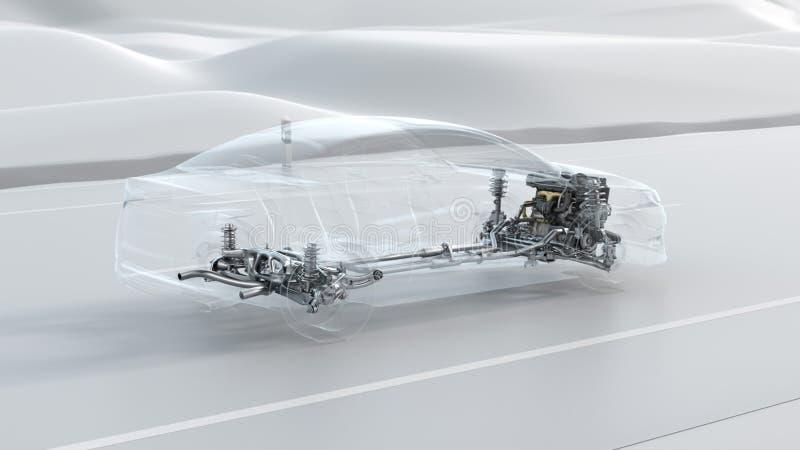 Panoramica astratta della struttura dell'automobile della città durante l'azionamento Illustrazione di progettazione 3d di opacit illustrazione di stock
