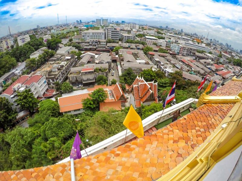Panoramica Bangkok, Tailandia, paesaggio urbano con cielo aperto immagine stock
