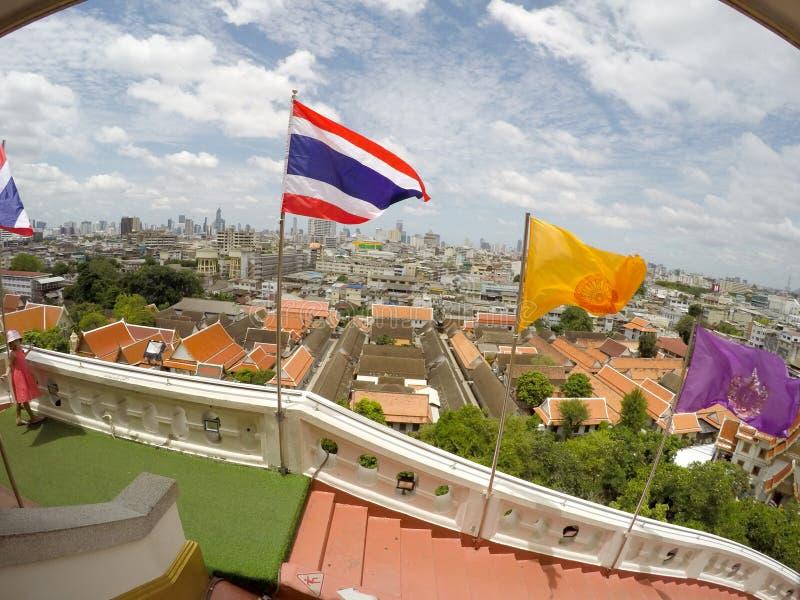 Panoramica Bangkok, Tailandia, paesaggio urbano con cielo aperto fotografie stock