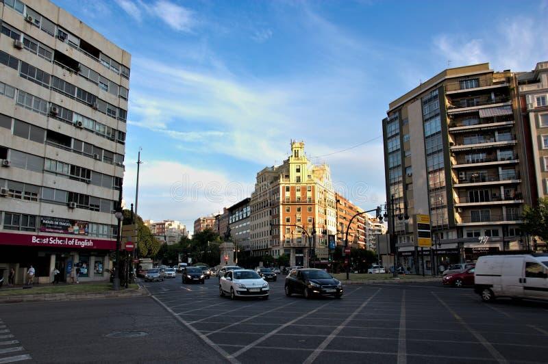 Panoramica della plaza de España nella capitale di Valencia fotografia stock libera da diritti