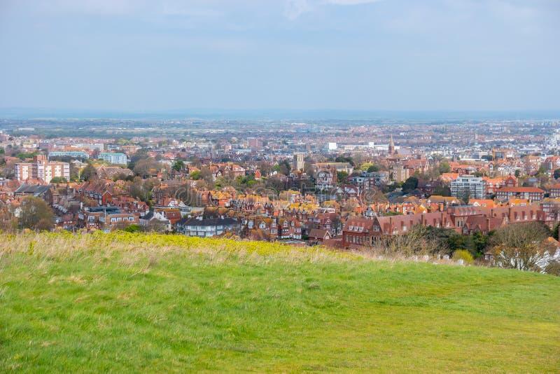 Panoramica di Eastbourne, Sussex orientale, Inghilterra, Regno Unito fotografie stock libere da diritti