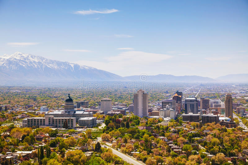 Panoramica di Salt Lake City fotografie stock libere da diritti