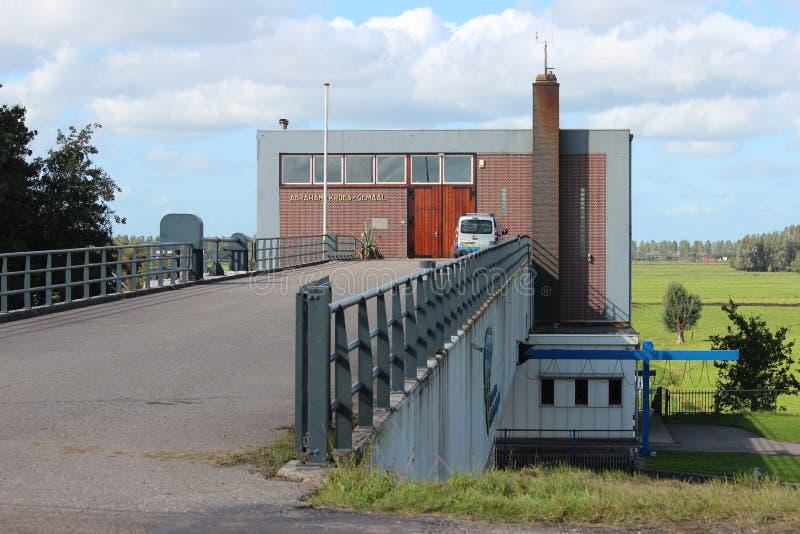 Panoramica grandangolare di Abraham Kroes Gemaal, una stazione di pompaggio dell'acqua con la doppia funzione fotografie stock