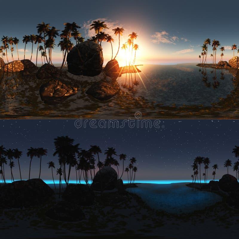 Panoramico della spiaggia tropicale al tramonto ed alla notte royalty illustrazione gratis