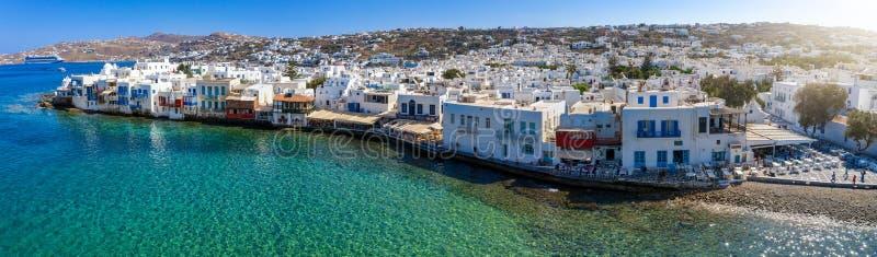 Panoramico, vista aerea alla città dell'isola di Mykonos, Cicladi, Grecia immagine stock