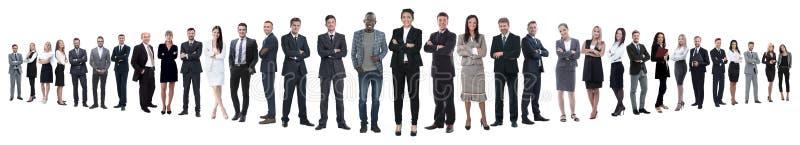 Panoramiczna fotografia grupa ufni ludzie biznesu zdjęcie stock