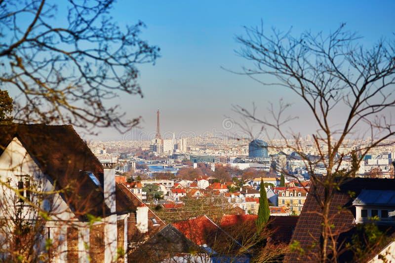 Panoramiczna linia horyzontu Paryż z wieży eifla i Sacre-Coeur katedrą obrazy stock