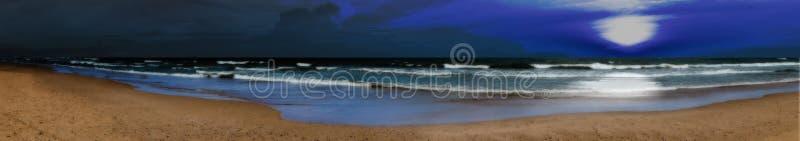 Panoramiczna nocy plaża zdjęcia royalty free