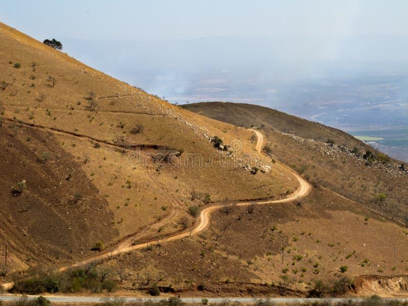 Panoramiczna wiejska droga w górach Południowa Afryka obrazy stock
