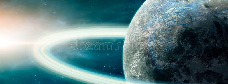Panoramiczne sceny kosmiczne Planeta z pierścieniem i mgławicą Elementy dostarczone przez NASA Renderowanie 3W royalty ilustracja