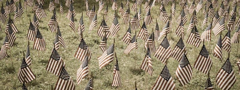 Panoramicznego widoku flagi ameryka?skie w zieleniej? pole upami?tnia ?wi?to narodowe w usa zdjęcie stock