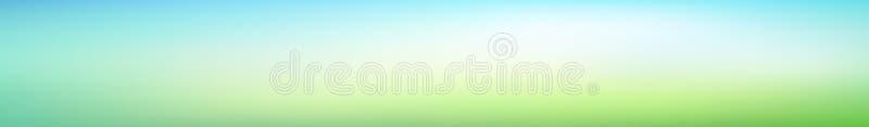 Panoramicznej abstrakt zieleni zamazany gradientowy tło Horyzontalny widok dla szkła panel - skinali Modny nowożytny natury tło ilustracja wektor