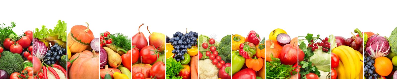 Panoramiczni inkasowi świezi owoc i warzywo odizolowywający na whi obraz stock