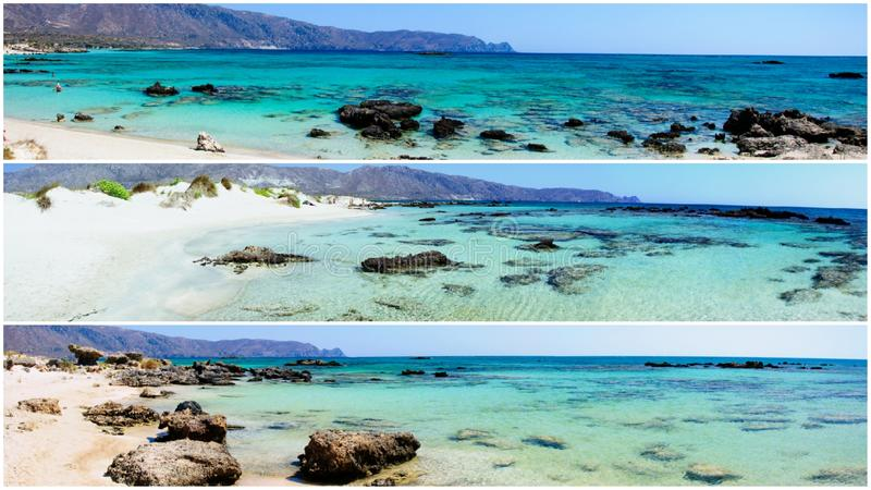 Panoramiczni krajobrazy od Elafonissi plaży, Crete wyspa, Grecja obrazy royalty free