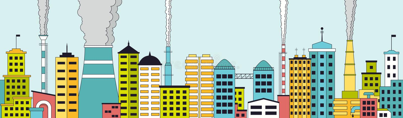 Panoramiczny bezszwowy wzór zanieczyszczający przemysłowy miasto royalty ilustracja