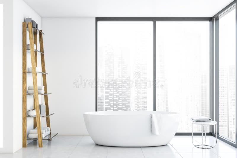 Panoramiczny biały łazienka z wanną ilustracja wektor