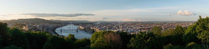 Panoramiczny Budapest miasta widok w lecie, Węgry Antena krajobraz zdjęcia stock