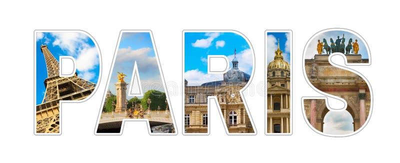 Panoramiczny fotografia kolażu tekst Paryż obraz royalty free