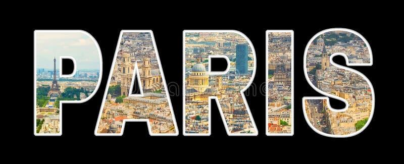 Panoramiczny fotografia kolażu tekst Paryż zdjęcie royalty free
