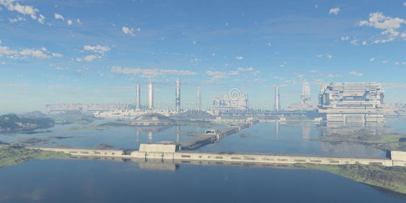 Panoramiczny futurystyczny miasto obraz royalty free