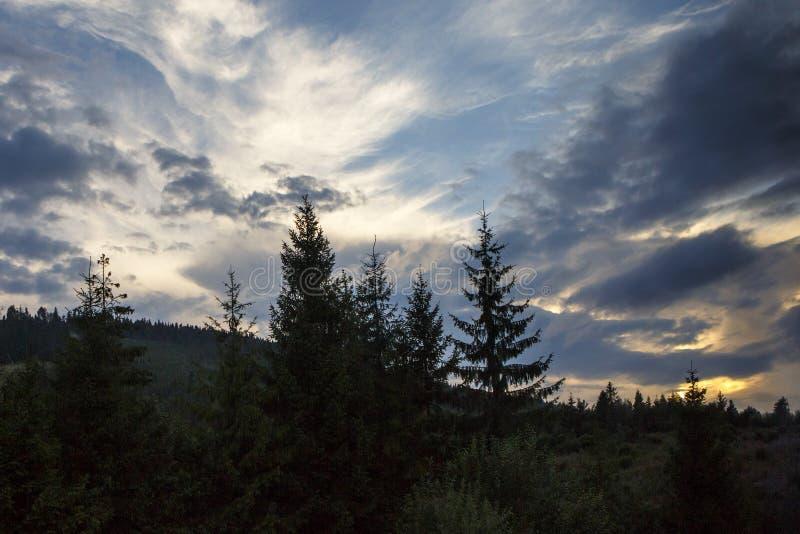 Panoramiczny góra krajobraz w wiośnie z światłem słonecznym zdjęcie stock