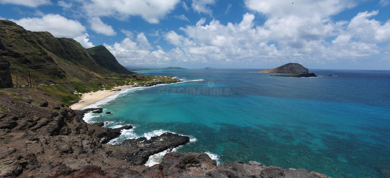Download Panoramiczny Hawaii Plażowy Makapuu Zdjęcie Stock - Obraz złożonej z tropikalny, kipiel: 13336304