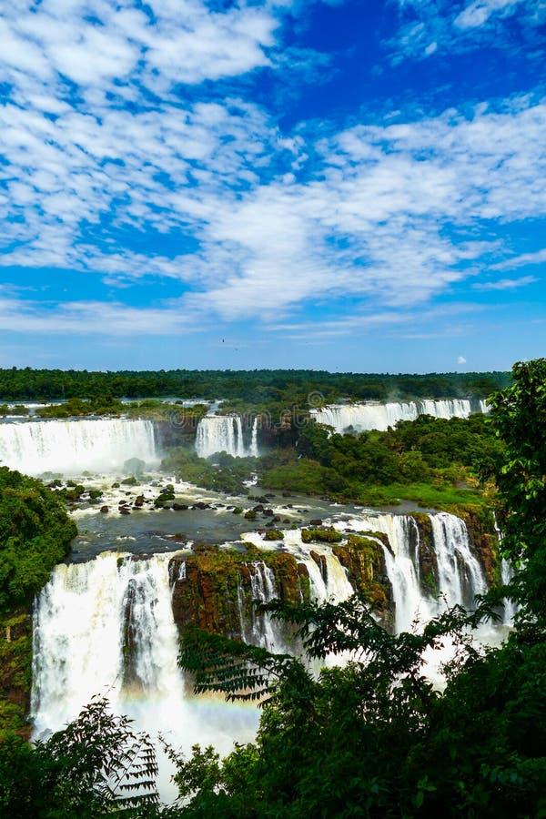 Panoramiczny i podwyższony widok Iguazu spadki fotografia royalty free