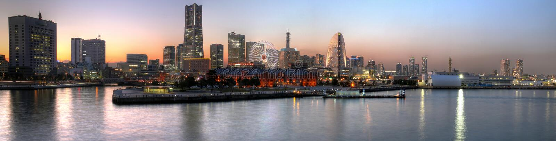 panoramiczny Japan zmierzch Yokohama zdjęcie stock