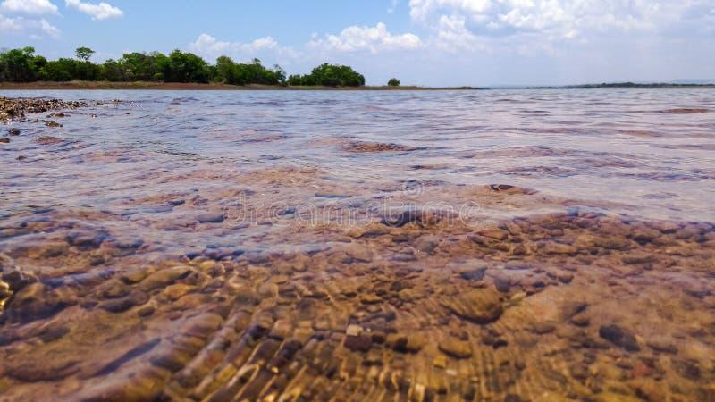 PANORAMICZNY jezioro W lecie Z słońcem zdjęcie stock
