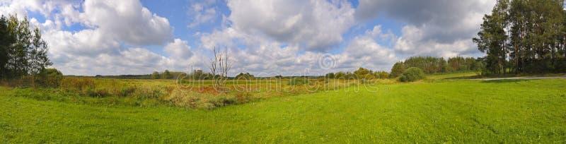 Panoramiczny krajobraz z łąkami pod chmurnym niebem zdjęcia royalty free