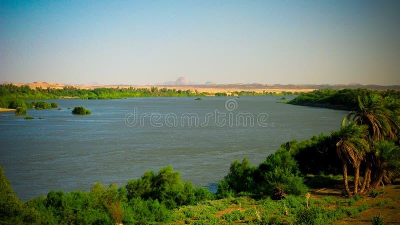 Panoramiczny krajobraz z Nil rzeką blisko Sai wyspy, Kerma, Sudan zdjęcia stock