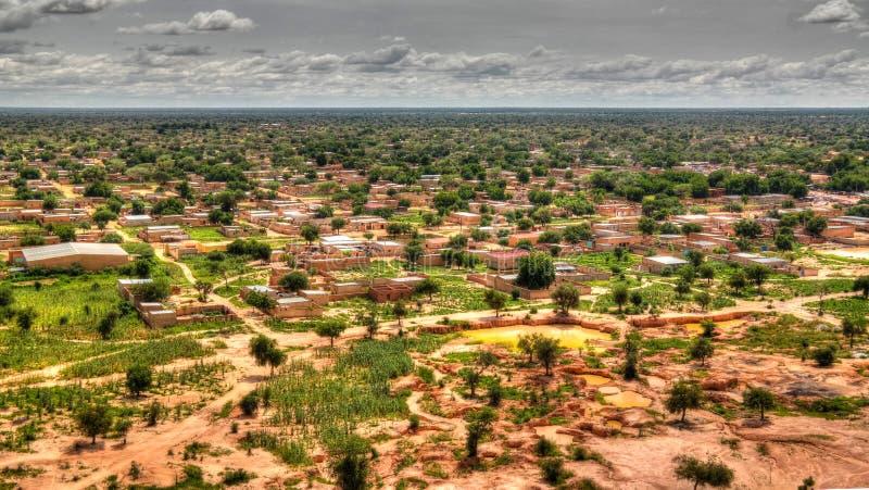 Panoramiczny krajobrazowy widok Sahel i oaza, Dogondoutchi, Niger fotografia royalty free