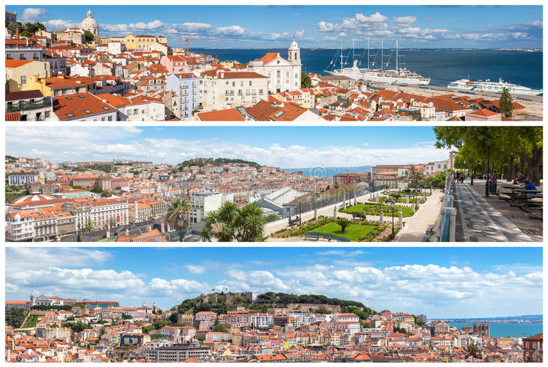 Panoramiczny obrazek mozaiki kolaż Lisbon miasta punkty widzenia - Mi fotografia royalty free