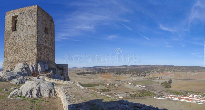 Panoramiczny od kasztelu Belmez, cordoba, Hiszpania zdjęcia royalty free