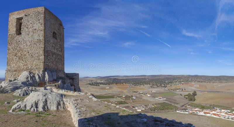 Panoramiczny od kasztelu Belmez, cordoba, Hiszpania fotografia royalty free