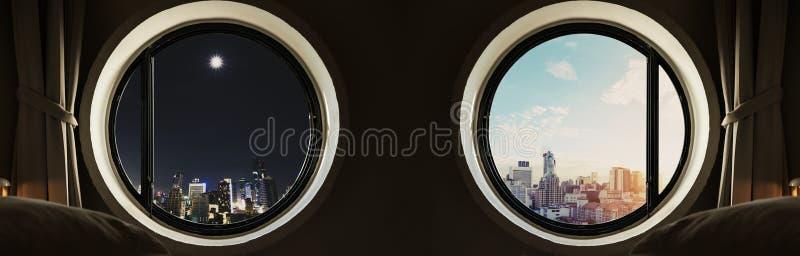 Panoramiczny okręgu okno z nowożytnym budynku miastem przy nocą i dniem w wschodzie słońca obrazy stock