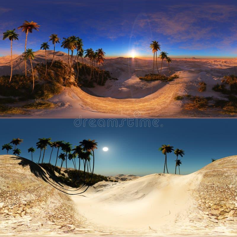Panoramiczny palmy w pustyni robić z jeden 360 stopni lense royalty ilustracja
