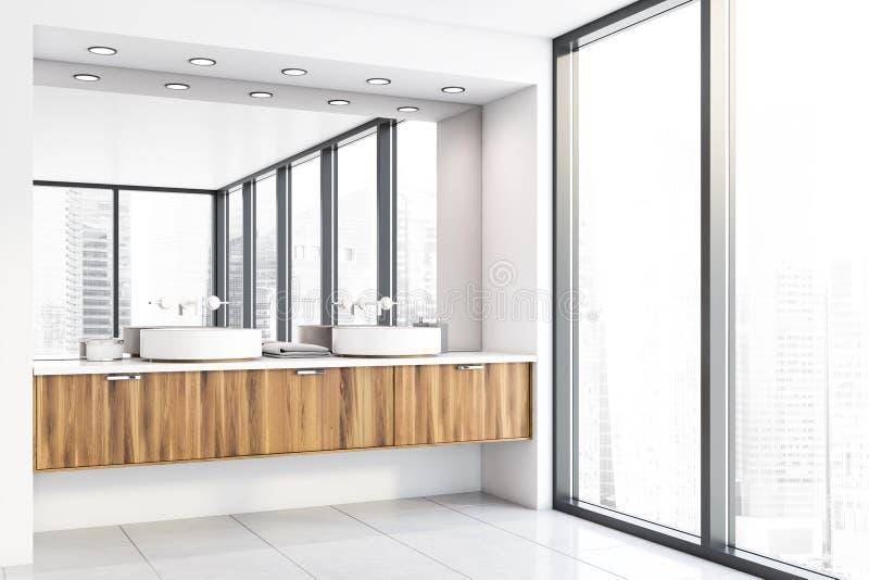 Panoramiczny róg łazienki z zlewem ilustracja wektor